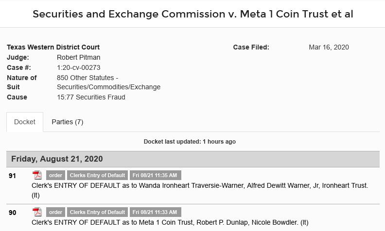 schmidt - Dave Schmidt (Meta 1 Coin Scam) Clerk's ENTRY OF DEFAULT as to Meta 1 Coin Scree628