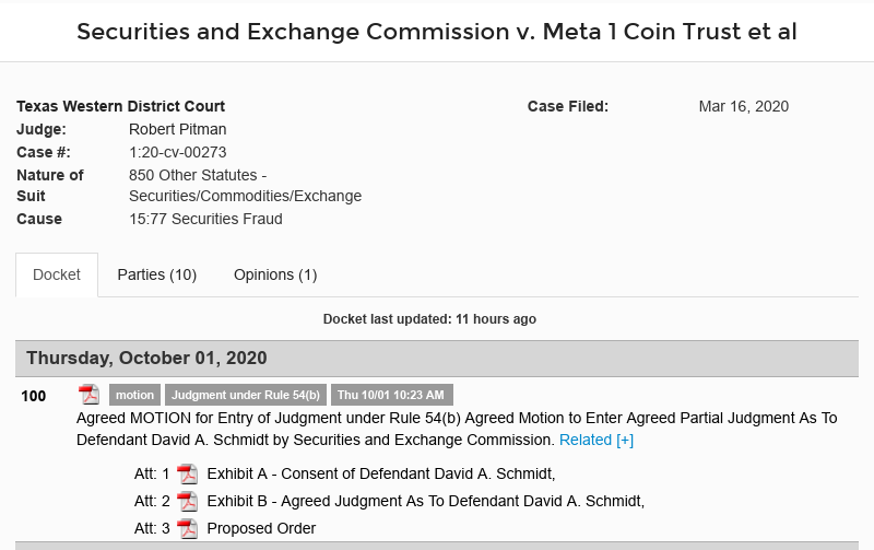 Dave Schmidt (Meta 1 Coin Scam) Agreed Motion to Enter Agreed Partial Judgment Scree636