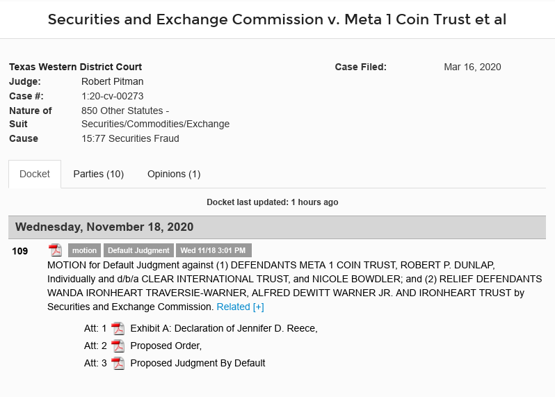Meta 1 Coin Scam Update (Dave Schmidt) - Motion For Default Judgement Against Meta 1 And Gang Scree644