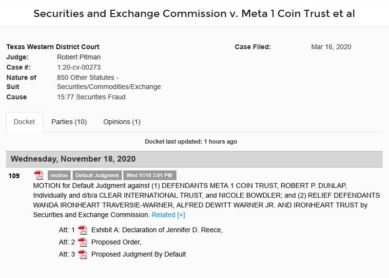 schmidt - Meta 1 Coin Scam Update (Dave Schmidt) - Motion For Default Judgement Against Meta 1 And Gang Scree644