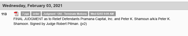 Dave Schmidt (Meta 1 Coin scam) FINAL JUDGMENT as to Relief Defendants Pramana Capital, Inc Scree667