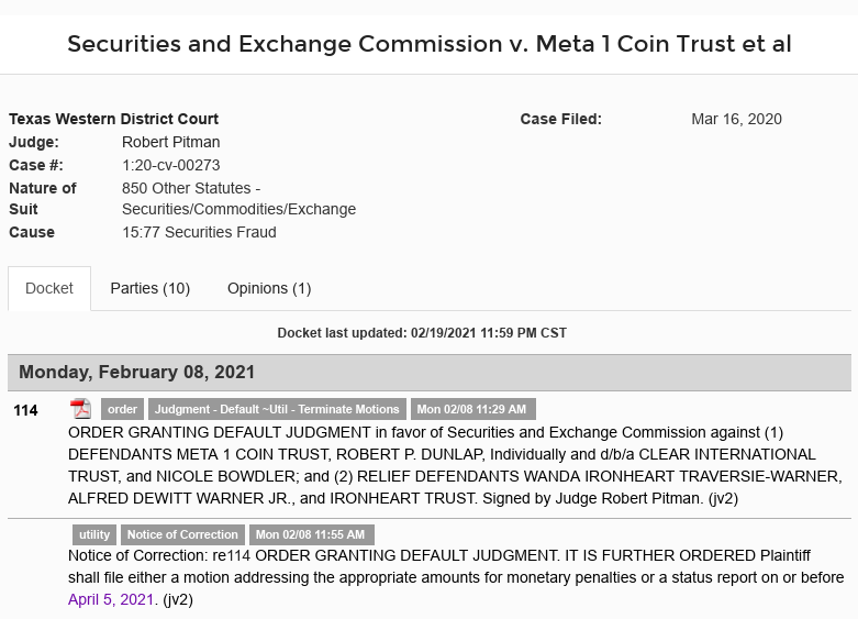 SEC's 28 Page Court Filing For Dave Schmidt's Meta 1 Coin Fraud - RV Guru In Deep Trouble! Scree668