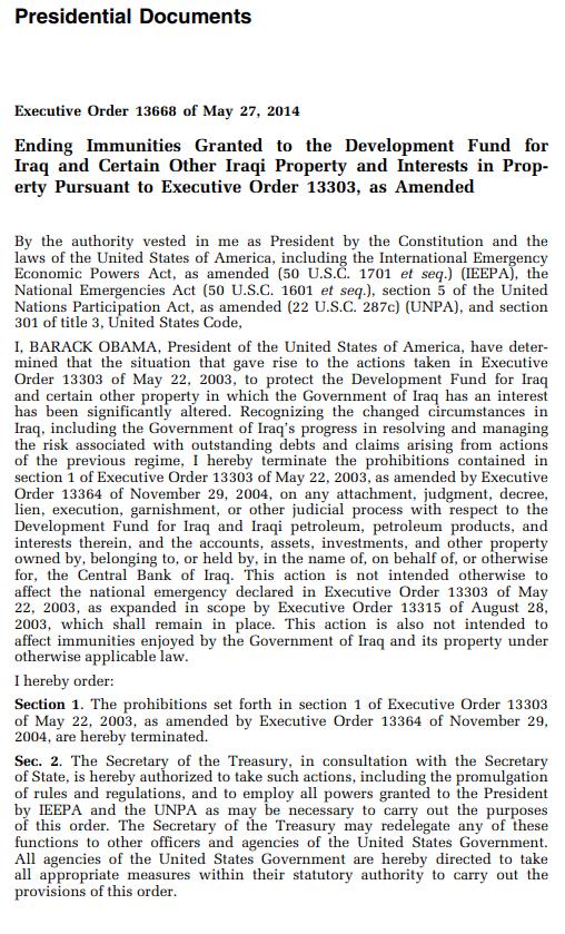 US Treasury: Executive Order 13303 Terminated Scree676