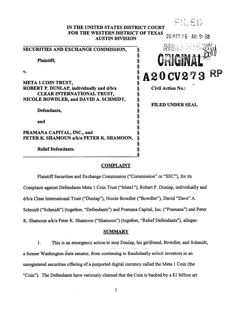 SEC's 28 Page Court Filing For Dave Schmidt's Meta 1 Coin Fraud - RV Guru In Deep Trouble! Sec110