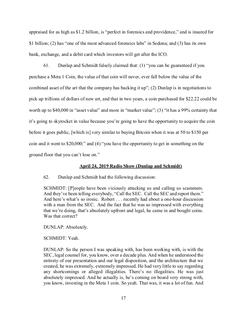 SEC's 28 Page Court Filing For Dave Schmidt's Meta 1 Coin Fraud - RV Guru In Deep Trouble! Sec1710