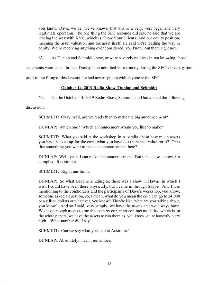 SEC's 28 Page Court Filing For Dave Schmidt's Meta 1 Coin Fraud - RV Guru In Deep Trouble! Sec1810