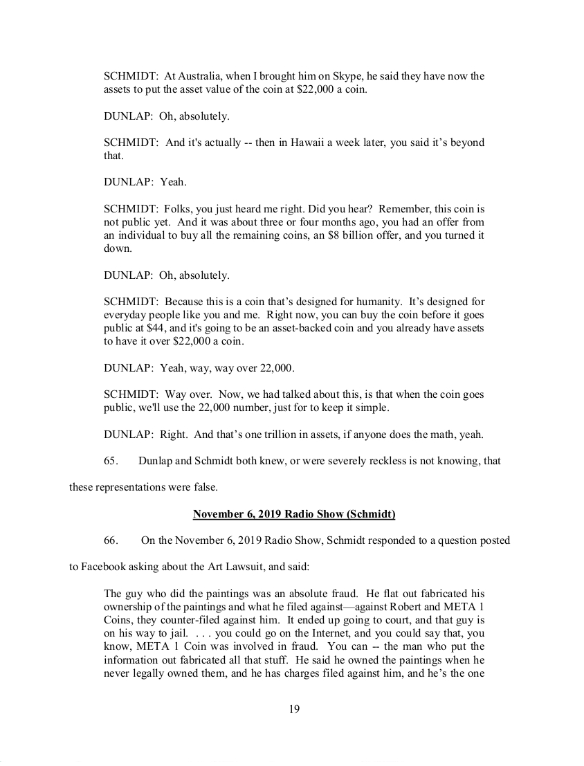 SEC's 28 Page Court Filing For Dave Schmidt's Meta 1 Coin Fraud - RV Guru In Deep Trouble! Sec1910