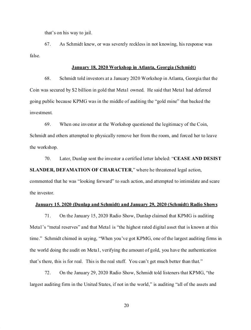 SEC's 28 Page Court Filing For Dave Schmidt's Meta 1 Coin Fraud - RV Guru In Deep Trouble! Sec2010