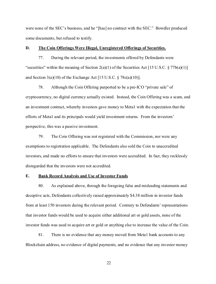 SEC's 28 Page Court Filing For Dave Schmidt's Meta 1 Coin Fraud - RV Guru In Deep Trouble! Sec2210