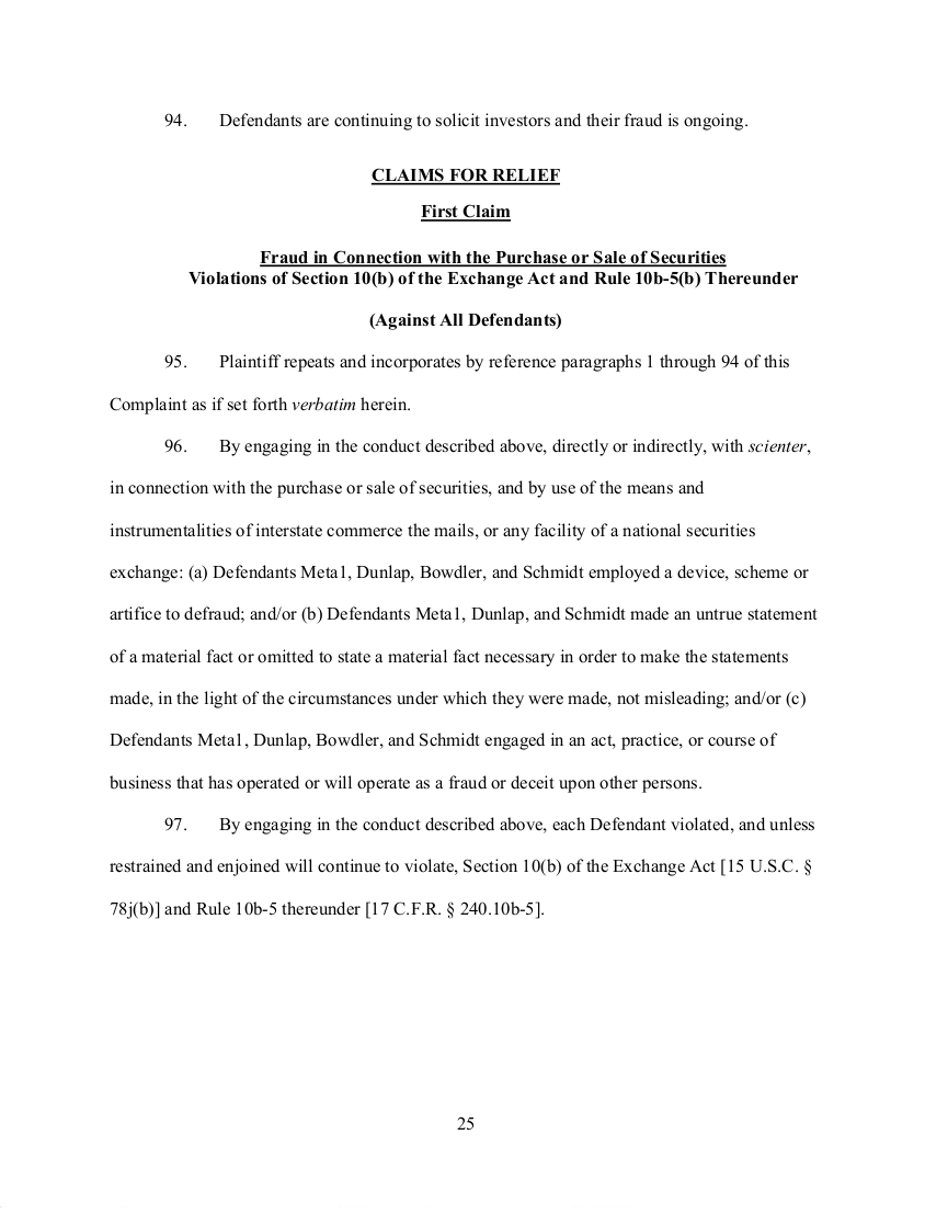 SEC's 28 Page Court Filing For Dave Schmidt's Meta 1 Coin Fraud - RV Guru In Deep Trouble! Sec2510