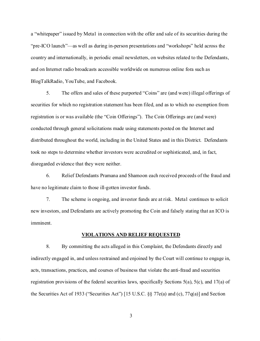 SEC's 28 Page Court Filing For Dave Schmidt's Meta 1 Coin Fraud - RV Guru In Deep Trouble! Sec310