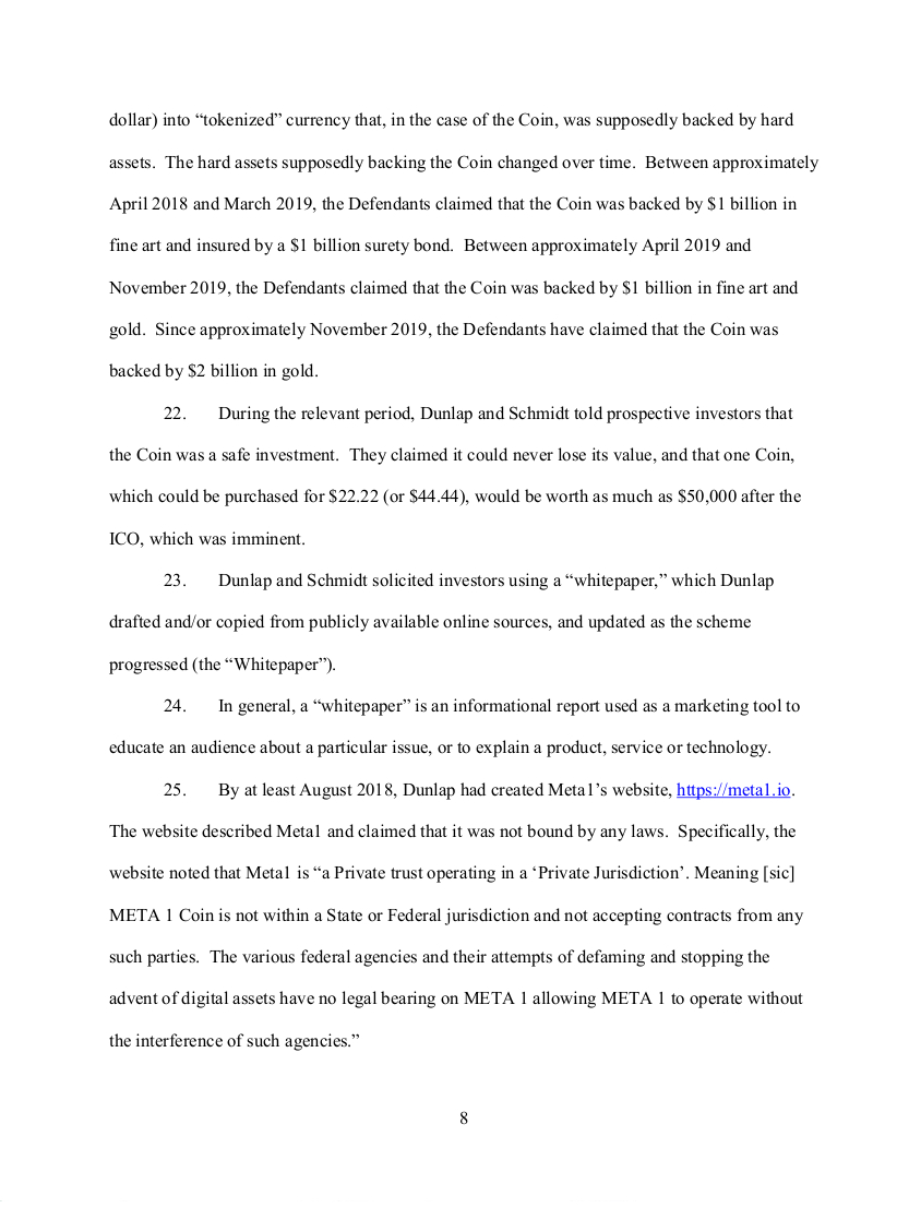 SEC's 28 Page Court Filing For Dave Schmidt's Meta 1 Coin Fraud - RV Guru In Deep Trouble! Sec810