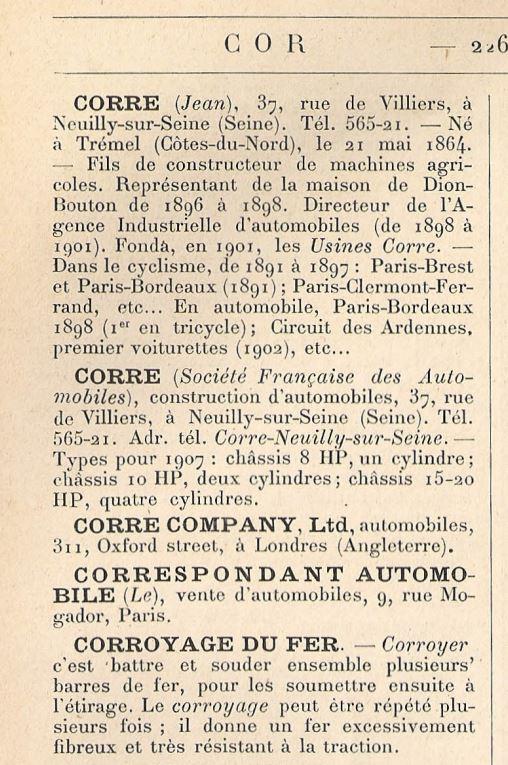 Jean-Marie CORRE....un peu d'histoire résumée 1767