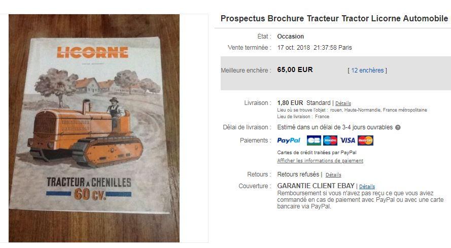 publicités du tracteur LICORNE 7103