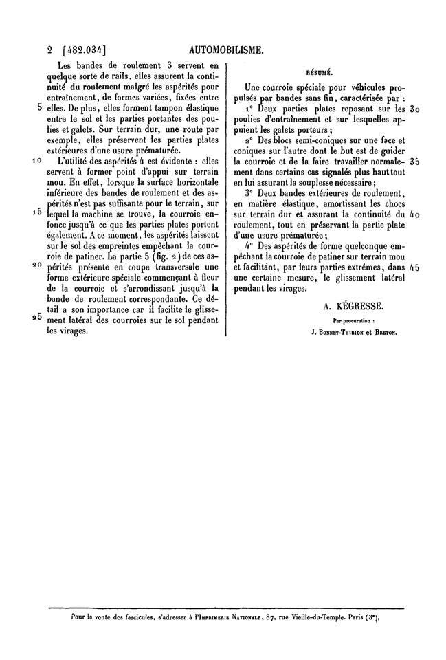 KEGRESSE : les brevets des chenilles 9105