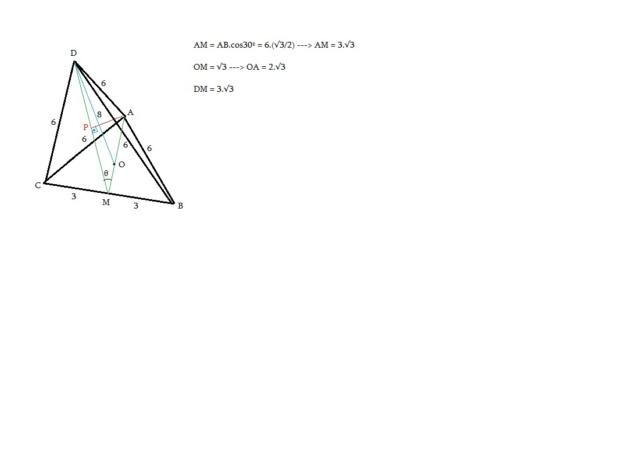 Distância do vétice a face da pirâmide  Tetrae13