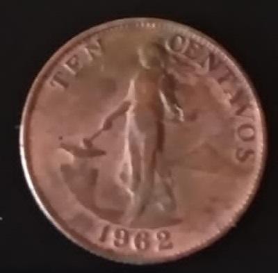 Filipinas, 10 centavos de 1962 215