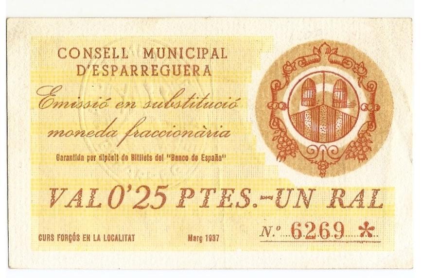 2 pesetas Unió de Cooperadors d'Igualada, 1938 Estrel11