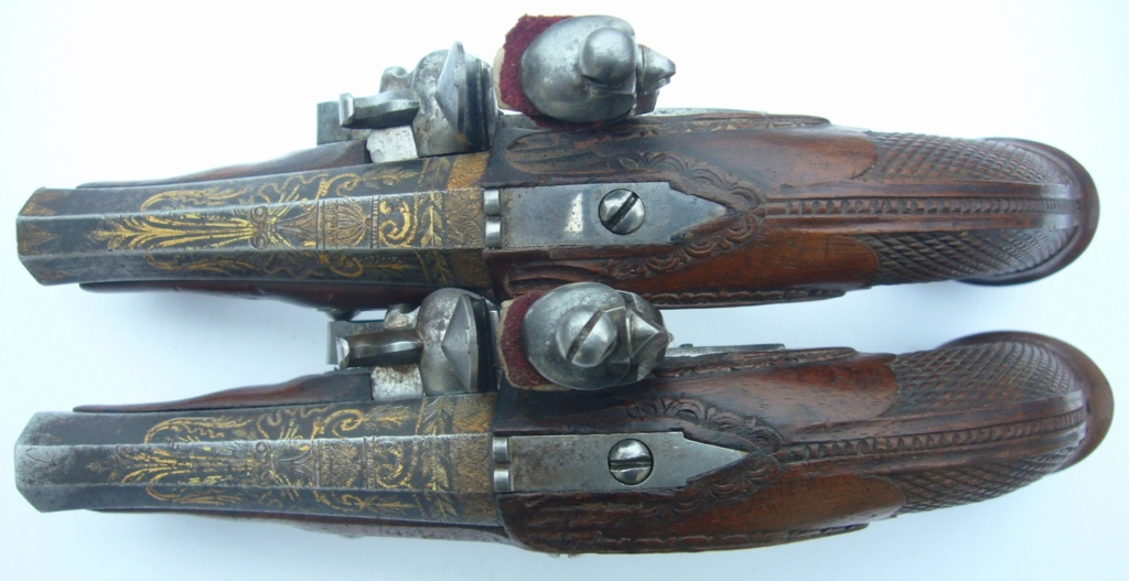 """paire de pistolets de """" voyage """" à silex  9f5ada10"""