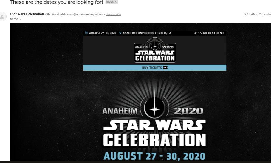 Star Wars Celebration 2020, Anaheim - August 27th - 30th Screen25