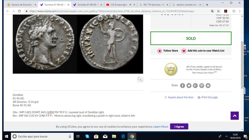 Denario de Domiciano. IMP XXI COS XV CENS PPP. Minerva avanzando a dch. Roma Dimici10