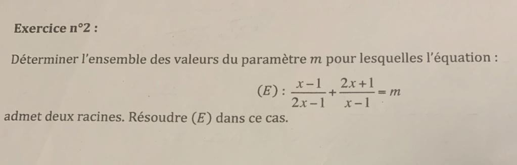 Équation du second degré avec paramètre  1dc0cc10