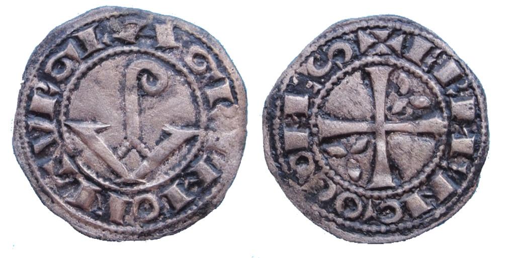 Dinero Ermengol VIII (1184-1209), Agramunt, Condado de Urgel Diner_10
