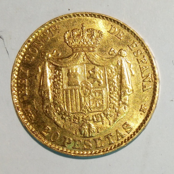 20 pesetas Alfonso XIII, falso de época no coincidente Img_2025