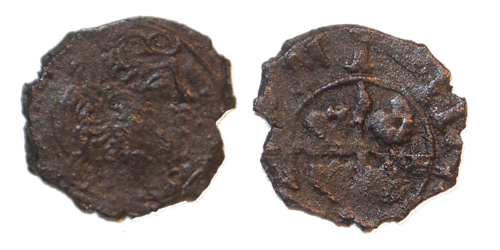 Dinero Zaragoza Felipe V 1711 con el 7 tumbado. Falso de época M16010