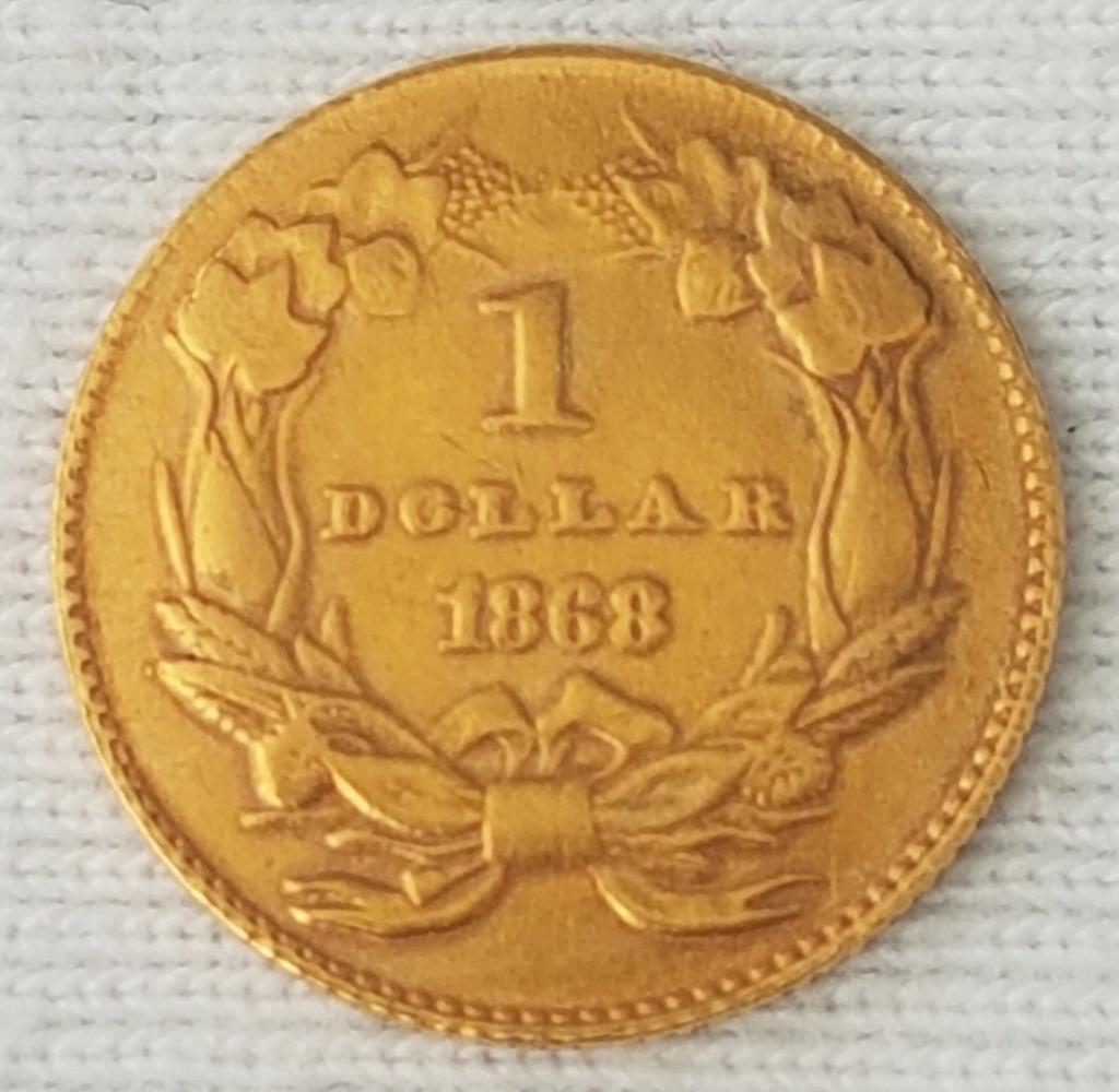 Dólar oro 1868 Cabeza de India Grande (tipo 3). Philadelphia 20210814
