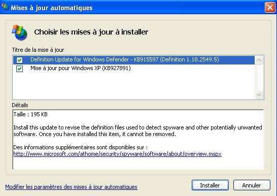 Problème avec les MAJ XP et Realteck (résolu) Majxp211