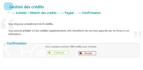 Achat de crédit par paypal impossible Confir10