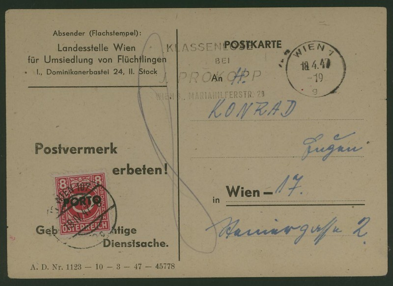 Verwendung von Portomarken in Österreich Ank_1910