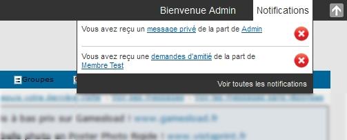 La toolbar, le centre des notifications & les messages des bannis 41010