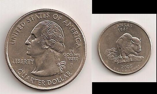 Cuarto de dólar americano 2005 Kansas. 310