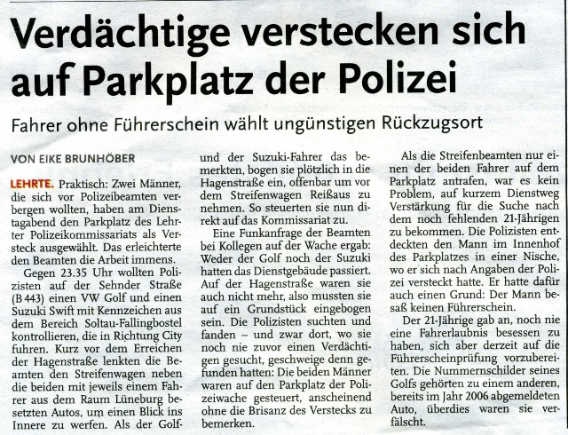 Kurioser Polizeibericht Img40910