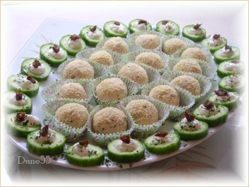 Boulettes froides au jambon en grappe Pict6613