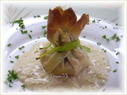 Baluchons de crevettes, sauce aux poireaux Pict7212