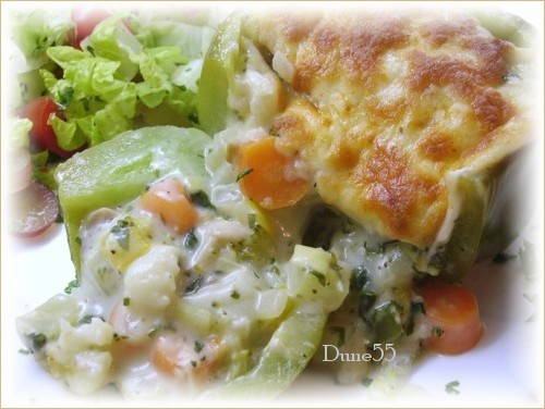Gratin de légumes dans un piment vert Pict7310