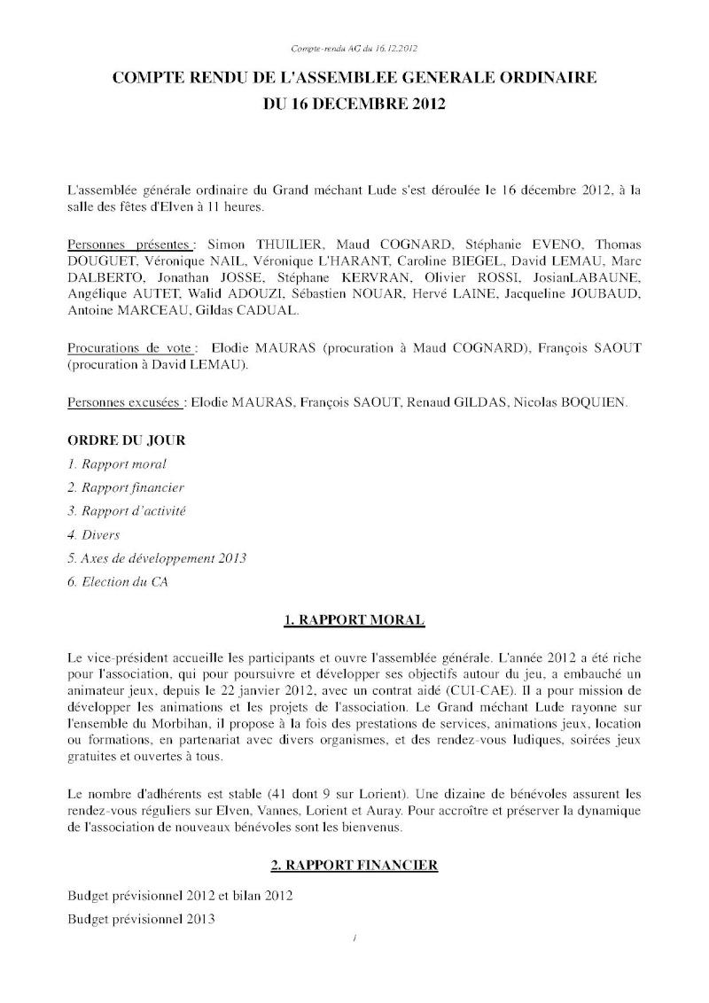 Assemblée générale ordinaire du 16 Décembre 2012 Cr110