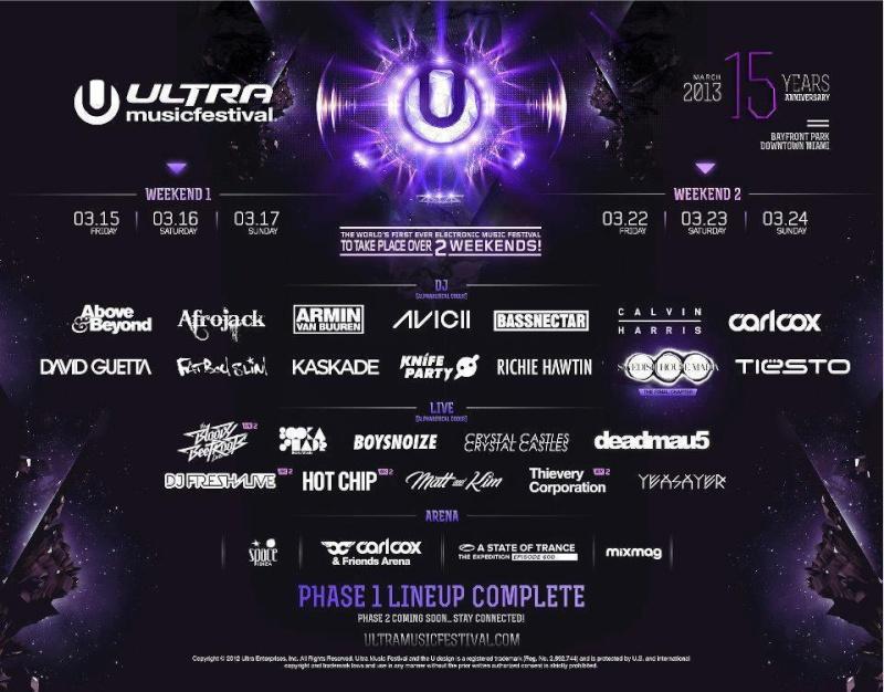 Annunciato il line-up dell'Ultra Music Festival Ultra-10