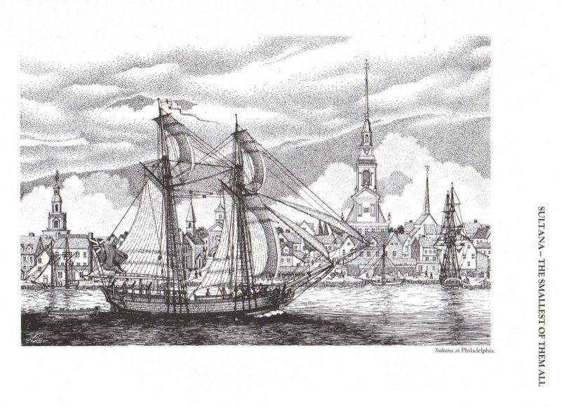 Planche d'une goëlette du XVIIIe sièccle du genre Colonial Schooner. Img95510