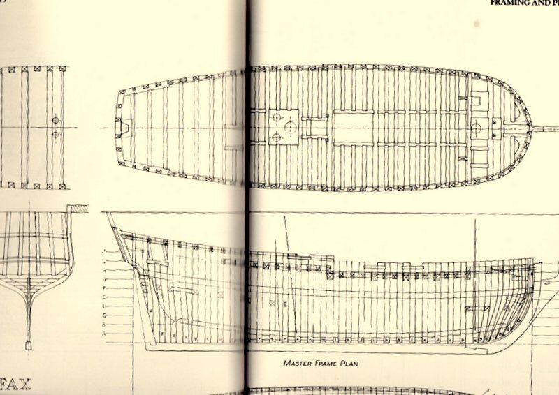 Planche d'une goëlette du XVIIIe sièccle du genre Colonial Schooner. Img95910