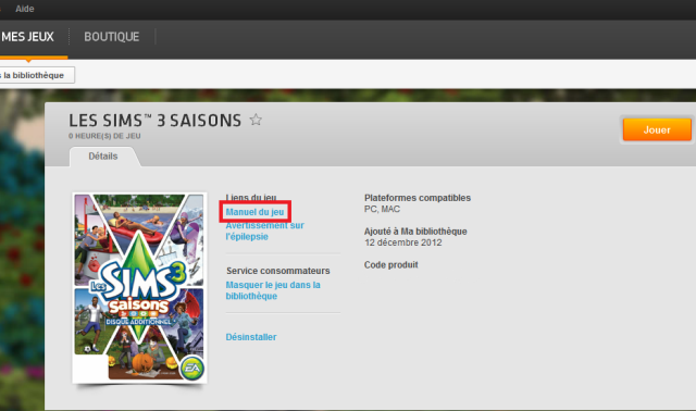 Le livret des Sims 3 version DVD VS version Origin Sans_t12