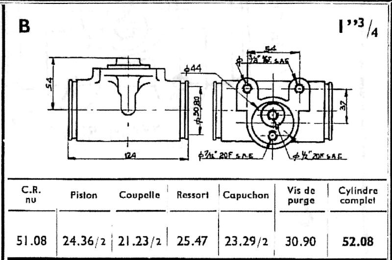 Tableau de Frein   CATALOGUE  STOP 1956 Cylind12