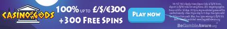 Casino Gods $/€1500 + 300 Free Spins Welcome Bonus Microgaming NetEnt Casino14