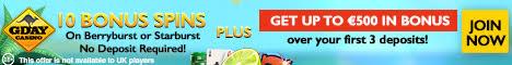 Gday Casino 10 Extra Spins No Deposit Bonus €/$/£500 Bonus 50 Spins Gday_c10