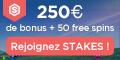 Stakes Casino 16 tours gratuits bonus sans depot