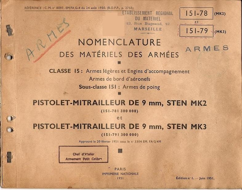Les livrets / notices du PM STEN 151-7810