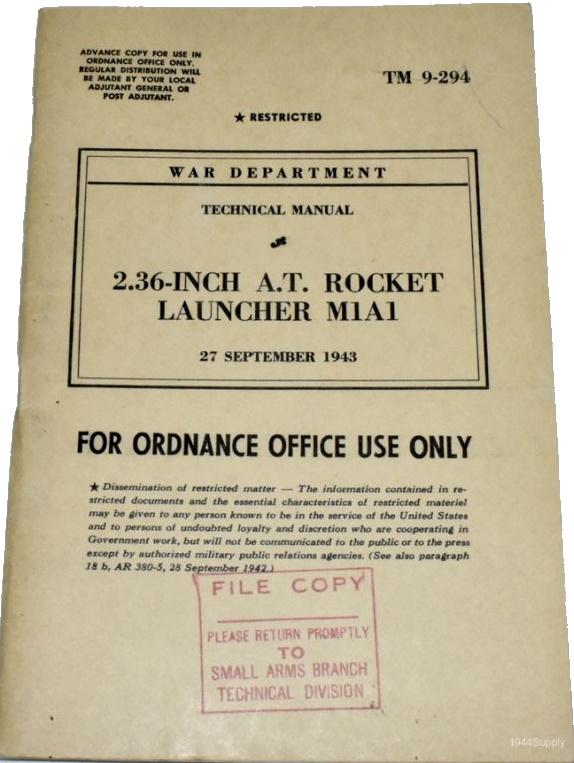 Le lance roquette * U.S. M1 A1 de 2,36 pouces (60mm). ( * Rocket Launcher * ) Tm-9-210